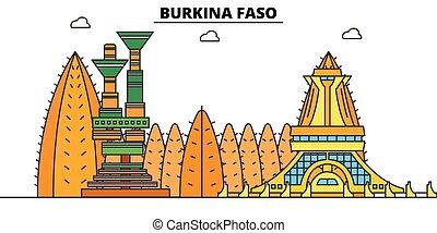 Burkina Faso flat travel skyline set. Burkina Faso black city vector illustration, symbol, travel sights, landmarks.