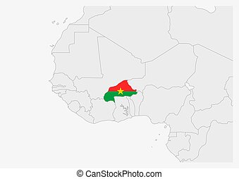 Burkina Faso map highlighted in Burkina Faso flag colors, gray map with neighboring countries.