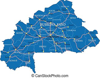Burkina Faso map - Highly detailed vector map of Burkina ...