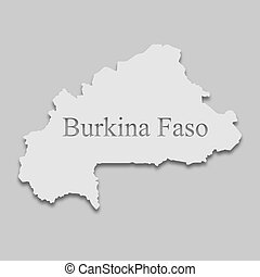 Burkina Faso map in a bright tone on the gray background
