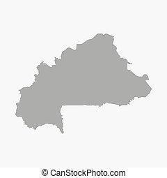Burkina Faso map in gray on a white background - Burkina...