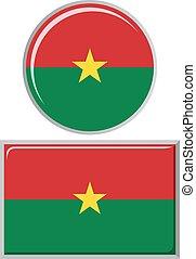 Burkina Faso round and square icon flag. Vector illustration.