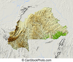 Burkina Faso, shaded relief map - Burkina Faso. Shaded ...