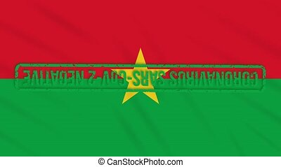 Burkina Faso swaying flag with green stamp of freedom from coronavirus, loop