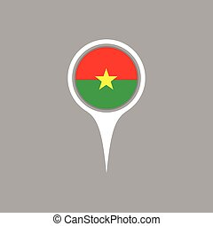 Burkina flag location map icon , Vector illustration.