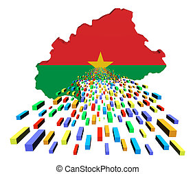 Burkina map flag with containers illustration