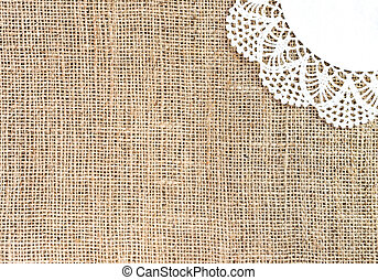 High Resolution Burlap And Lace Background