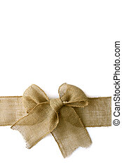Burlap Christmas Bow Wrapped Arounf White Background - A...