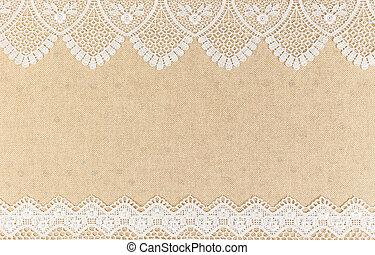 burlap, dentelle, texture bois, conception, fond, table, blanc