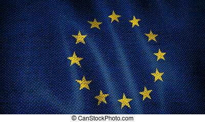 Burlap European Union Flag. - Beautiful animation of...