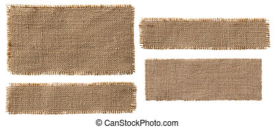 Burlap Fabric Label Pieces, Rustic Hessian Patch, Torn Sack...