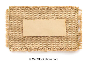 burlap hessian sacking and paper on white
