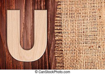 burlap, lettre, bois, alphabet, symbole, -, wih, u., fond, table