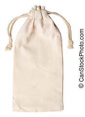 Burlap pouch isolated on white background