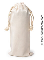 Burlap pouch on white background