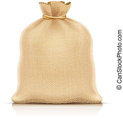 Burlap sack for products. Eps10 vector illustration. -...