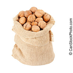 Burlap sack full of whole walnuts isolated on white background