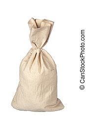 Burlap sack on white - A burlap sack with space for copy ...