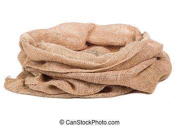 Burlap sack or bag - Empty burlap Sack . Isolated on white...