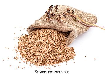 Burlap sack with buckwheat spilling