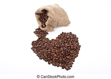 Burlap sack with coffee heart