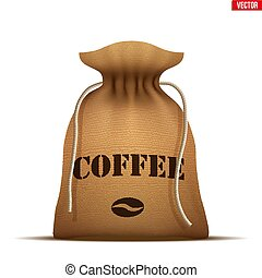 Burlap sack with Coffee. - Tied Burlap sack with Coffee...