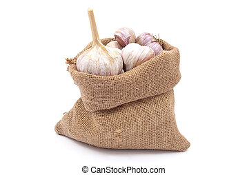 Burlap sack with garlic