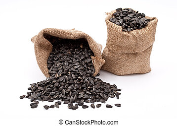 Burlap sacks with sunflower seeds