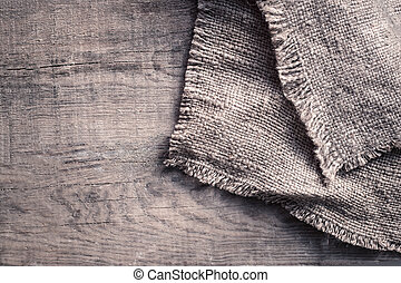 Burlap Texture On Wooden Table Background In Rustic Style Food Concept