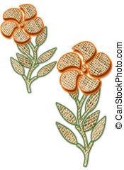 Burlap Textured Flowers - Orange digital artwork flowers,...