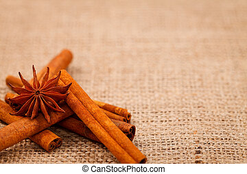 Burlap with cinnamon and star anise