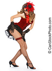 Burlesque. Attractive dancer on heels - Burlesque. Cute,...