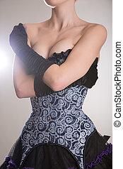 Burlesque woman in blue corset