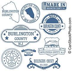 burlington, condado, señales, genérico, nj, sellos