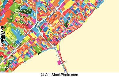 Burlington, Ontario, Canada, colorful vector map