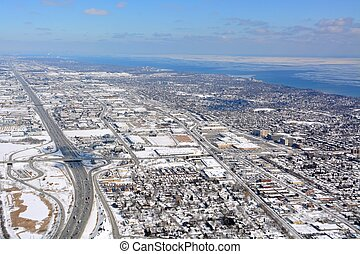 Burlington, Ontario Winter aerial