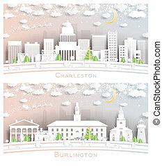 Burlington Vermont and Charleston West Virginia USA City Skyline Set.