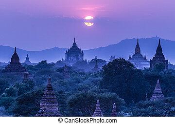 burma, bagan, templos, asia., myanmar
