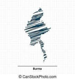 burma, doodle, esboço, mapa