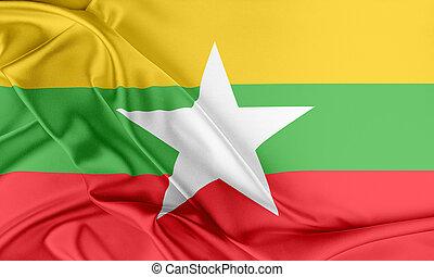 Burma Flag. Flag with a beautiful glossy silk texture.