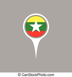 Burma flag location map icon , Vector illustration.