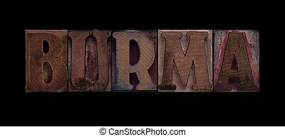 Burma in old wood type