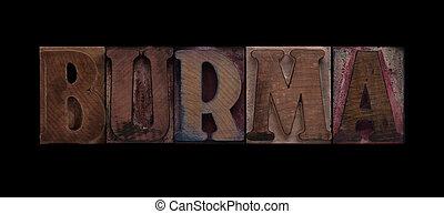 Burma in old wood type