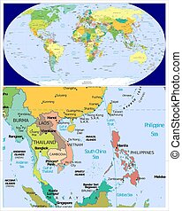Burma Laos Thailand Cambodia Vietnam Philippines  and World