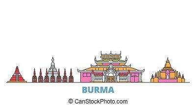 Burma line cityscape, flat vector. Travel city landmark, oultine illustration, line world icons