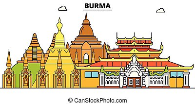 Burma line skyline vector illustration. Burma linear cityscape with famous landmarks, city sights, vector design landscape.