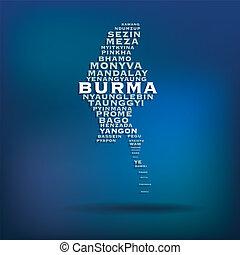 Burma map concept