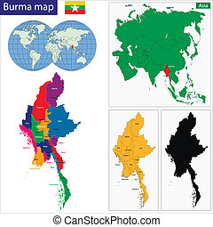 Burma map - Map of Union of Myanmar (Burma) with the...