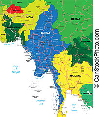 Burma map - Highly detailed vector map of Burma with...