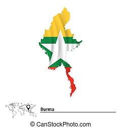 burma, mapa, bandeira